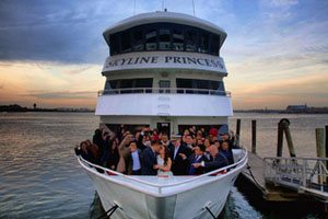 Wedding reception cruise around New York City