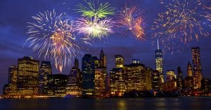 nyc skyline with fireworks