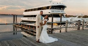 newly married couple in front of skyline princess