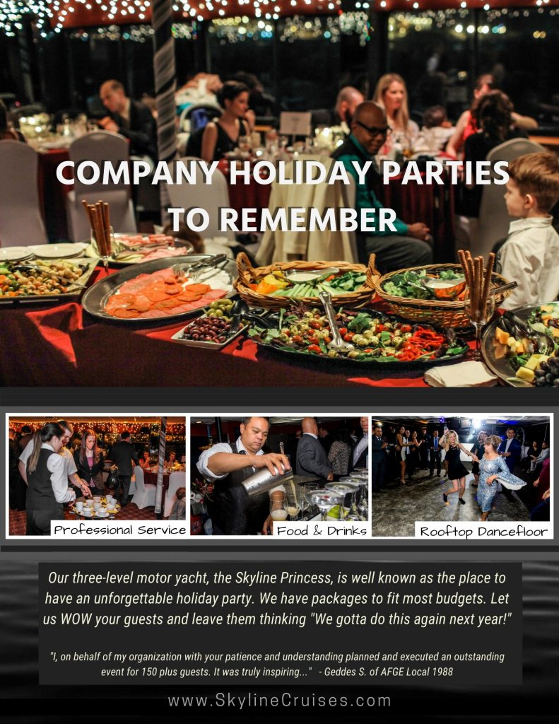 Company Holiday Parties To Remember with food, drinks, professional service, and rooftop dance floor
