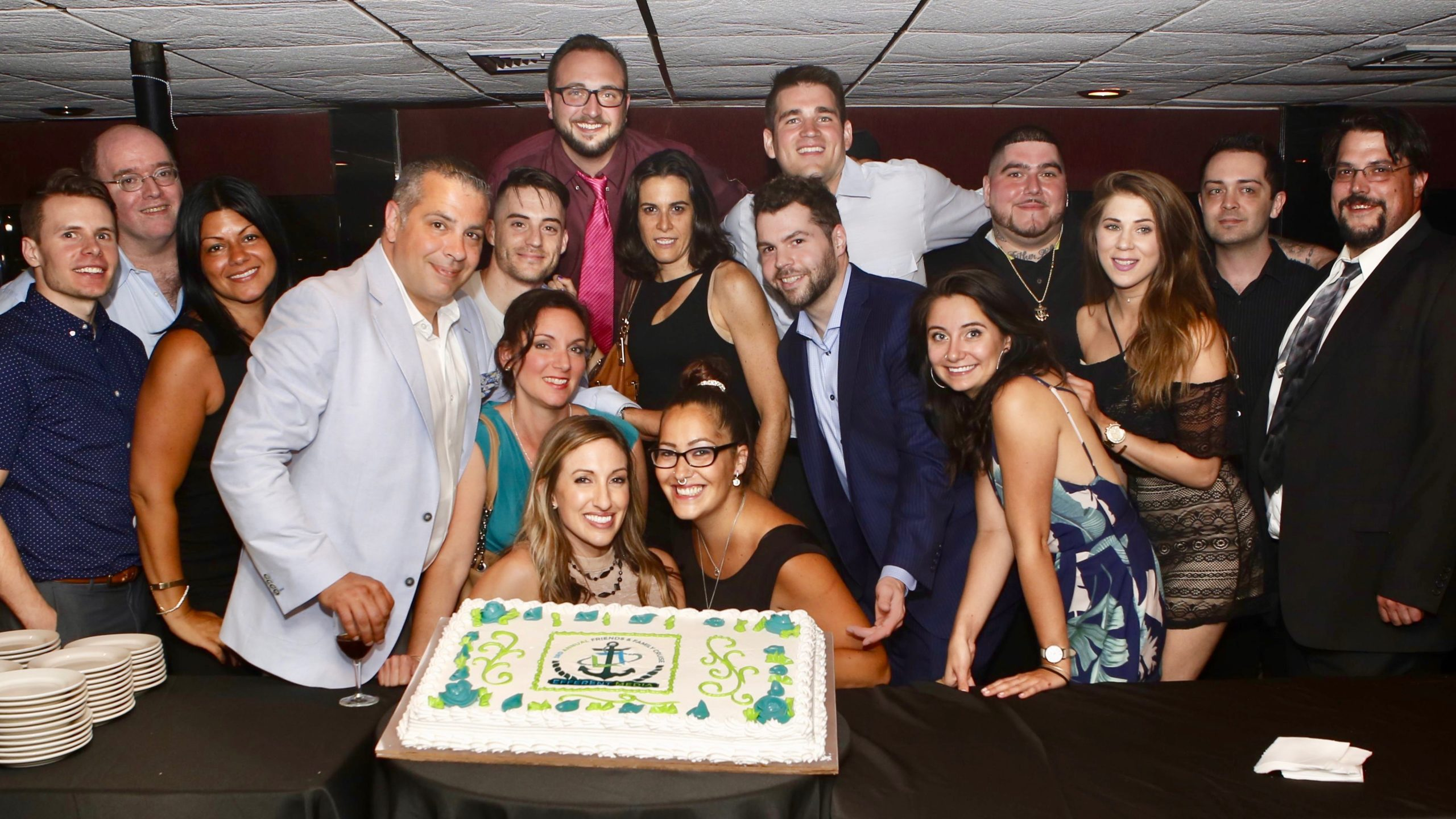 group picture with cake
